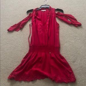 Parker silk red dress XS